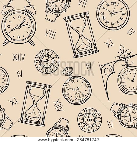 Clock Seamless Pattern. Sketch Time, Sketch Hourglass And Mechanic Watch, Timepiece Vector Vintage T