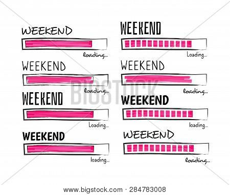 Weekend Loading. Happy Friday Meme Quote Business Funny Vector Design. Illustration Of Weekend Posit