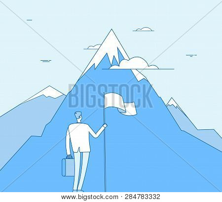 Businessman At Mountain. Successful Man With Flag Beginning Success Achievement. Corporate Purpose,