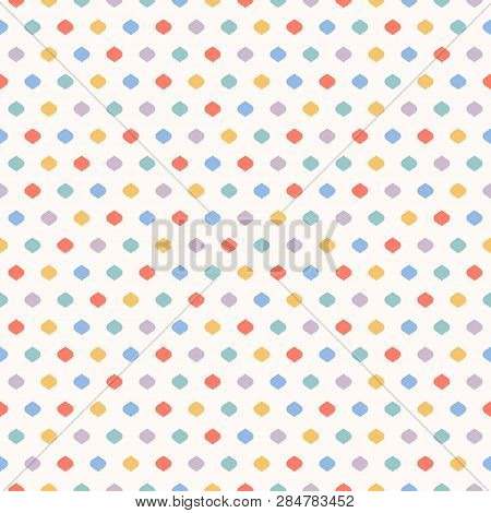 Cute Funky Vector Seamless Pattern. Vector Geometric Texture With Small Colorful Dots, Confetti On W