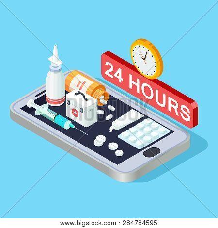 Online Pharmacy Isometric Concept, 24 Hours Pharmacy App Vector Illustration. Online App, Pharmacy A