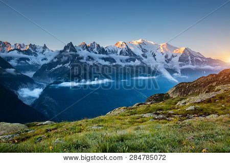 Magnificent Mont Blanc glacier with Lac Blanc viewpoint. Location place Chamonix famous resort, Graian Alps, France, Europe. Scenic image of popular tourist attraction. Discover the beauty of earth.