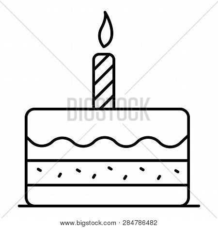 First Birthday Cake Icon. Outline First Birthday Cake Vector Icon For Web Design Isolated On White B