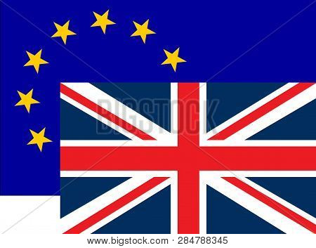 Brexit Concept Illustration - Uk Economy After Brexit Deal Symbolized With Eu Flag And England Flag