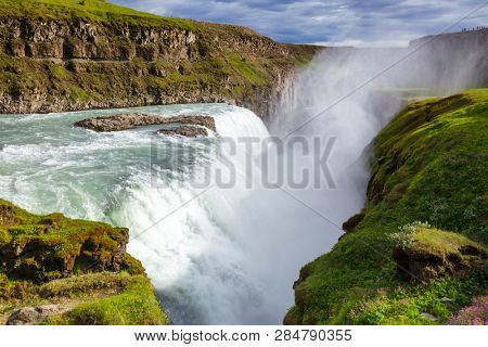 Gullfoss (Golden Falls) waterfall on the Hvítá river, a popular tourist attraction and part of the Golden Circle Tourist Route in Southwest Iceland, Scandinavia