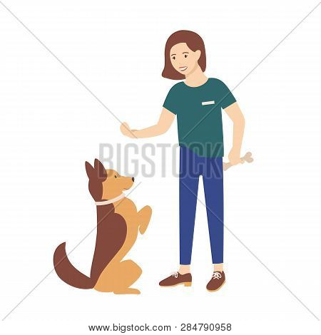 Adorable Young Woman Dressed In Casual Clothes Holding Treat And Training Her Dog To Obey Commands.