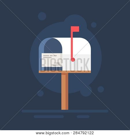 Mailbox Flat Notification Letter Icon Postal Box