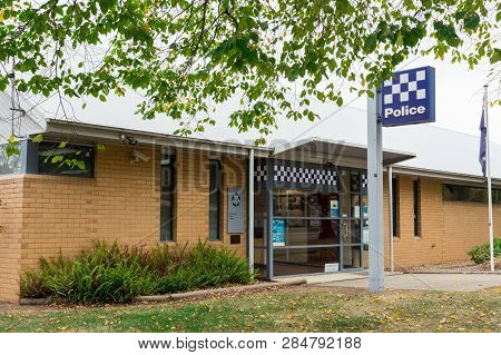 Beechworth, Australia - May 2, 2018: Victoria Police Station In Beechworth, In Indigo Shire In North