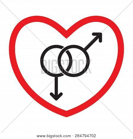 Homosexual Love Icon. Gays. Flat Style. Black And White Gender Symbols In Red Heart. Vector Illustra