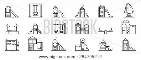 Kid Playground Icons Set. Outline Set Of Kid Playground Vector Icons For Web Design Isolated On Whit
