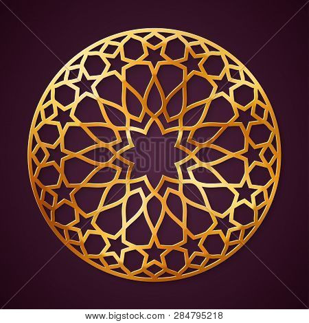 Golden, Arabic Round Pattern, Traditional Eastern Ornament, Eps 10 Contains Transparency