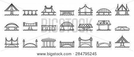 Bridges Icons Set. Outline Set Of Bridges Vector Icons For Web Design Isolated On White Background