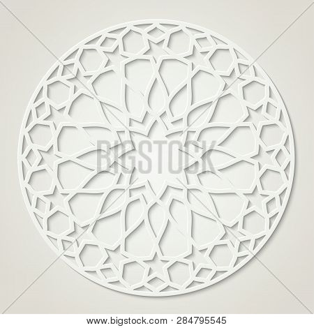 Arabic Round White Pattern, Traditional Eastern Ornament, Eps 10 Contains Transparency.