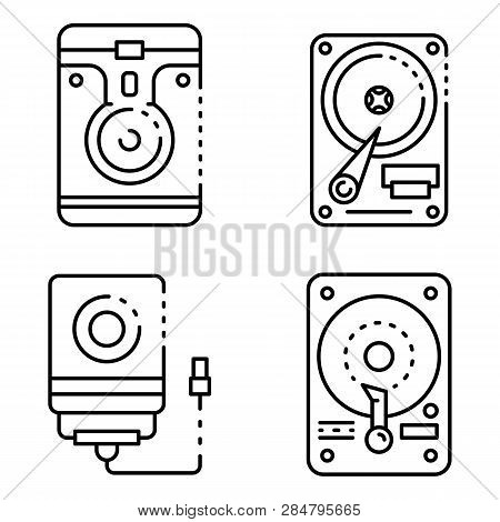 Hard Disk Icons Set. Outline Set Of Hard Disk Vector Icons For Web Design Isolated On White Backgrou