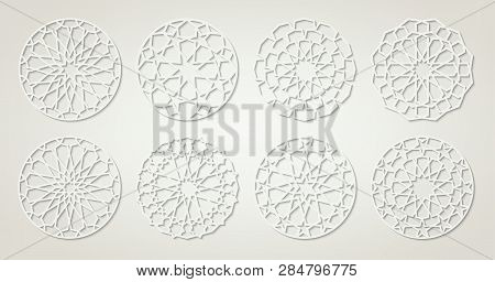 Set Of White Arabic Round Patterns, Traditional Eastern Ornaments, Eps 10 Contains Transparency.