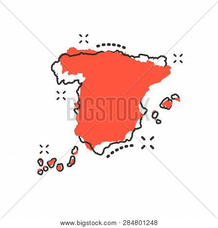 Vector Cartoon Spain Map Icon In Comic Style. Spain Sign Illustration Pictogram. Cartography Map Bus