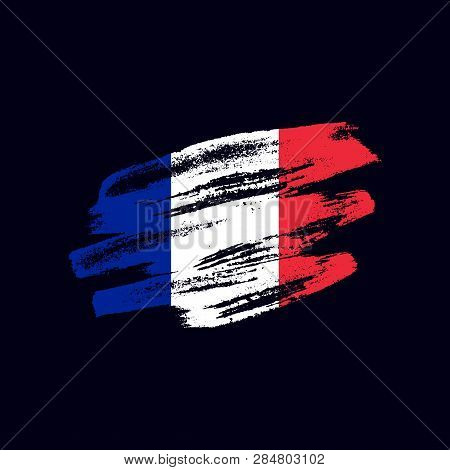 Grunge Textured French Flag. Vector Brush Painted Flag Of French Republic (france) Isolated On Dark
