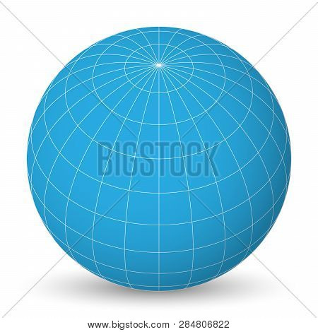 Blank Planet Earth Blue Globe With Grid Of Meridians And Parallels, Or Latitude And Longitude. 3d Ve
