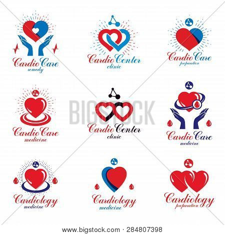 Heart Shapes Composed Using Pulsating Electrocardiograms And Futuristic Mesh Connections. Cardio Cen