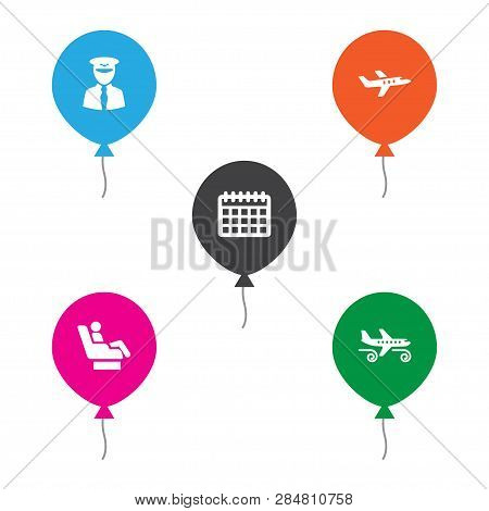 Set Of 5 Aircraft Icons Set. Collection Of Pilot, Airplane, Turbulence And Other Elements.