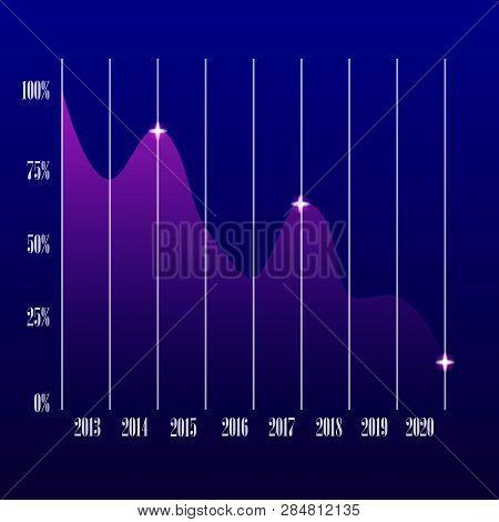 Money Loss Illustration, Flat Cartoon Cash With Down Arrow Stocks Graph, Concept Of Financial Crisis