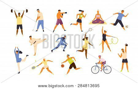 Collection Of Cute Funny Men And Women Performing Various Sports Activities. Bundle Of Happy Trainin