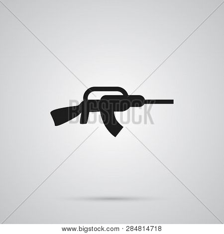 Isolated Assault Rifle Icon Symbol On Clean Background.  Kalashnikov Element In Trendy Style.