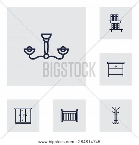 Set Of 6 Set Icons Line Style Set. Collection Of Coat Stand, Bookcase, Cot Elements.