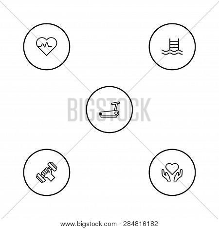 Set Of 5 Training Icons Line Style Set. Collection Of Bodybuilding, Hartbeat, Treadmill And Other El