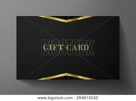 Gift Card (gift Card Discount), Luxury Reward Card, Gift Coupon With Golden Pattern. Black Backgroun