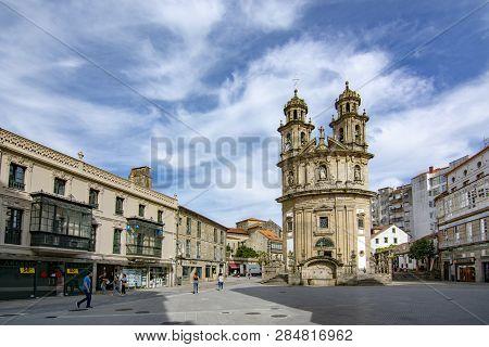 Pontevedra, Galicia, Spain; September 2018: Facade Of The Circular Church Of The Peregrina, In The H