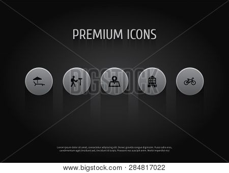 Set Of 5 Travel Icons Set. Collection Of Tourist, Hotel, Sunbed And Other Elements.