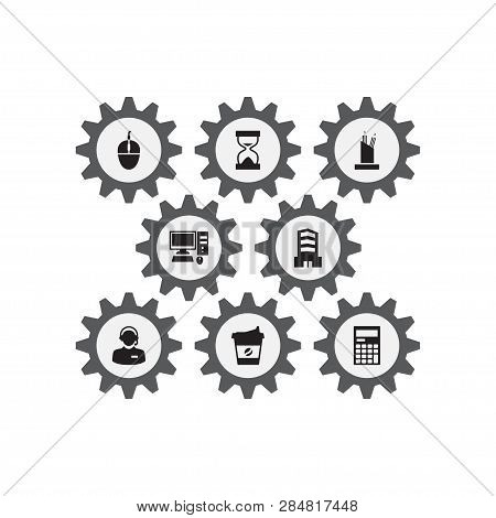 Set Of 8 Cabinet Icons Set. Collection Of Coffee, Desktop, Call Center And Other Elements.