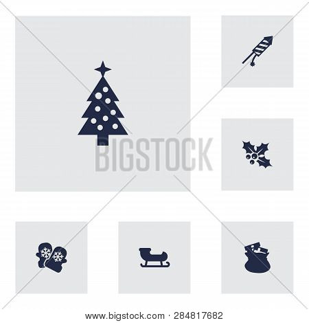 Set Of 6 New Icons Set. Collection Of Holly, Sledge, Petard And Other Elements.