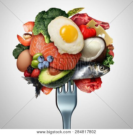Eating Ketogenic Food And Keto Nutrition Lifestyle Diet Low Carb And High Fat Meal As Fish Nuts Eggs