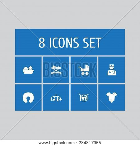 Set Of 8 Baby Icons Set. Collection Of Carriage, Walker, Toys And Other Elements.