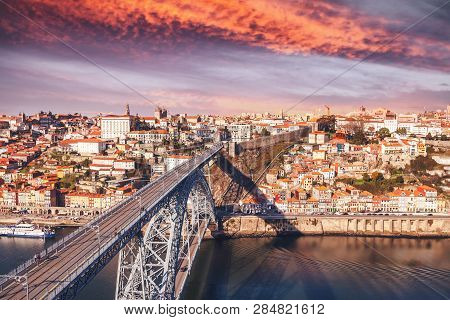Porto, Portugal Old Town Skyline At Sunset, A Beautiful Cityscape