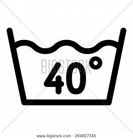 Wash At 40 Degree Or Bellow Icon. Outline Wash At 40 Degree Or Bellow Vector Icon For Web Design Iso