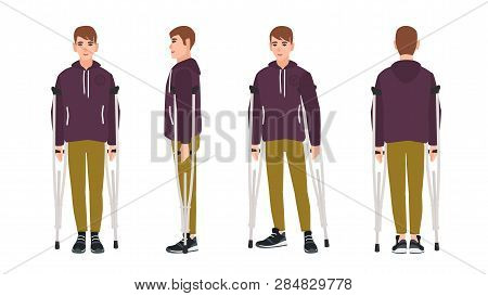 Happy Young Man Standing Or Walking With Crutches. Cute Guy With Limited Mobility. Joyful Male Carto