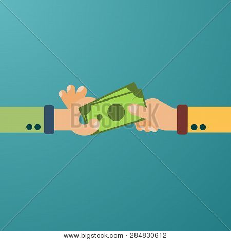 Hand Hold Cash Money, Financial Bills. Concept Of Financial Operations With Cash, Investments And Sa