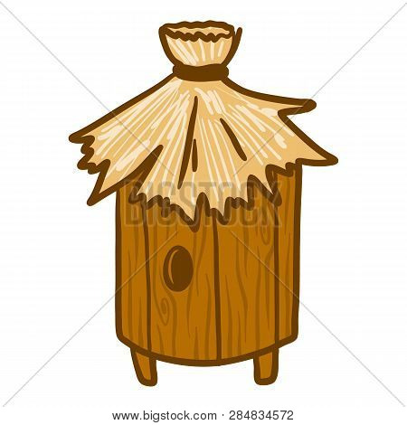 Wood Stump Beehive Icon. Hand Drawn Illustration Of Wood Stump Beehive Vector Icon For Web Design
