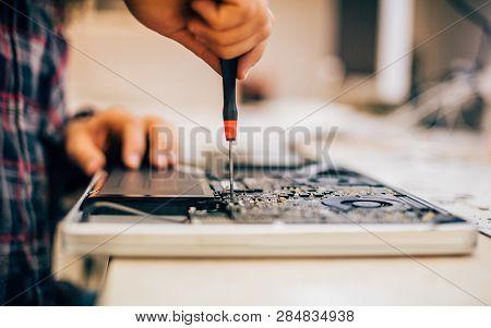 Electrician Engineer Technician Repair Faulty Laptop Computer In Electr Service