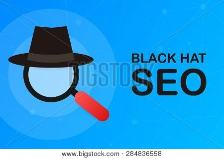 Black Hat Seo Banner. Magnifier, And Other Search Engine Optimization Tools And Tactics. Vector Stoc