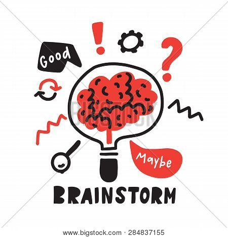 Brainstorm. Funny Hand Drawn Illustration Of Brainstorming Process. Brain Inside The Lamp. Vector.