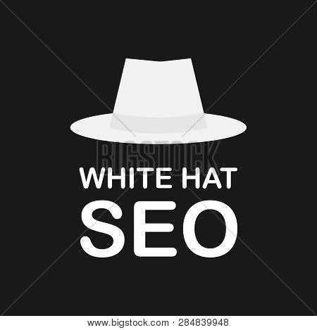 poster of White hat seo banner. Magnifier, and other search engine optimization tools and tactics. Vector stock illustration.