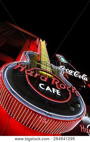 Osaka, Japan - Jan 09, 2019: The Iconic Sign Of Hard Rock Cafe Restaurant In Hard Rock Cafe Universa