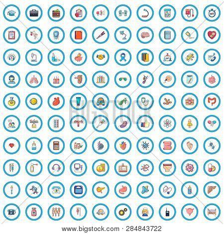 100 Ambulance Icons Set. Cartoon Illustration Of 100 Ambulance Vector Icons Isolated On White Backgr