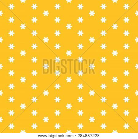 Vector Minimalist Floral Seamless Pattern. Simple Abstract Texture With Small Geometric Flowers, Sno