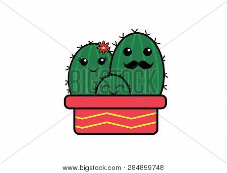 Green Cute Happy Cactus Family PNG Illustration poster