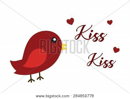Red Bird Hearts Kiss PNG Illustration Love poster